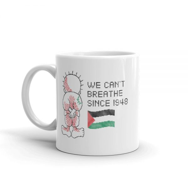 we can't breath palestine mug