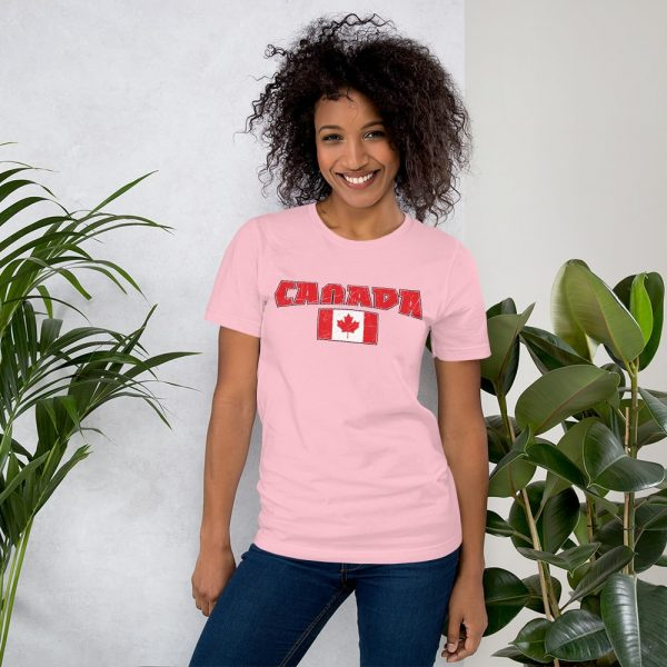 canada with flag pink tshirt