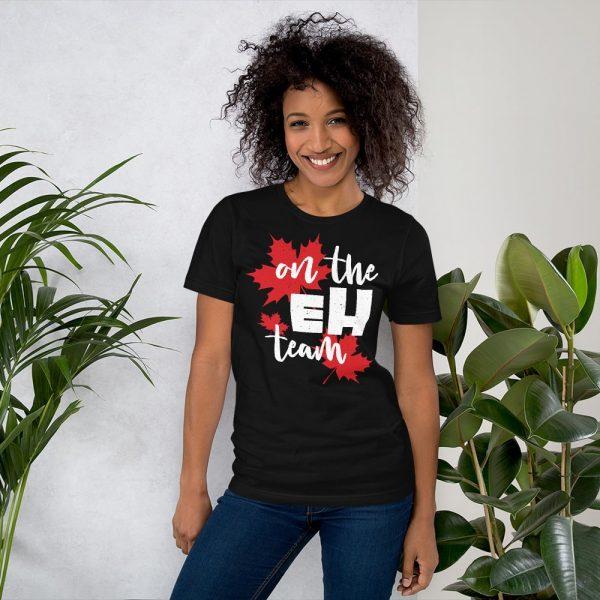 on the eh team tshirt black women's