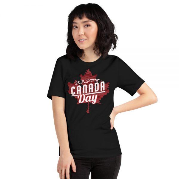 custom women's clothing happy Canada day black t-shirt