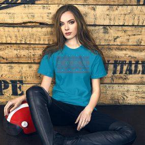 tatreez design pattern 4 embroidery blue t-shirt