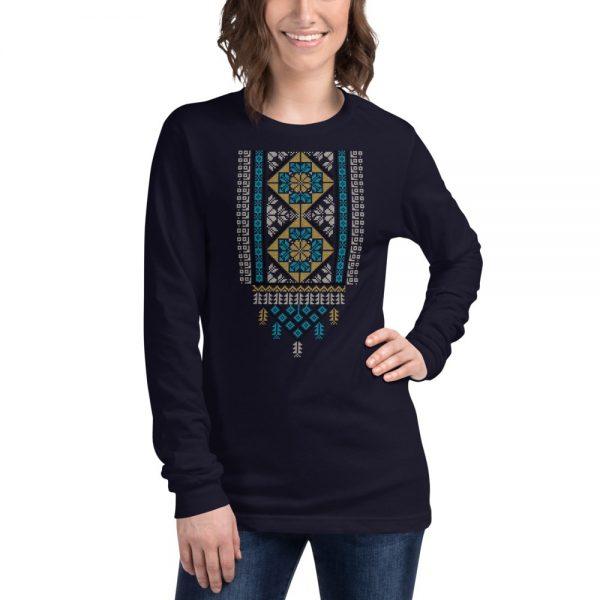 tatreez design pattern 2 embroidery navy t-shirt