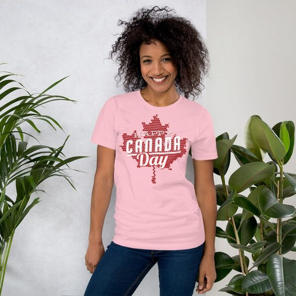 happy Canada day pink t-shirt for men and women