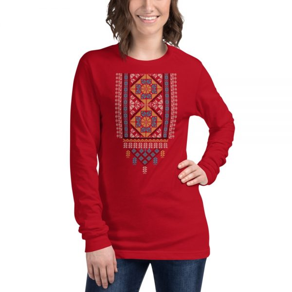 tatreez design pattern 2 embroidery red t-shirt