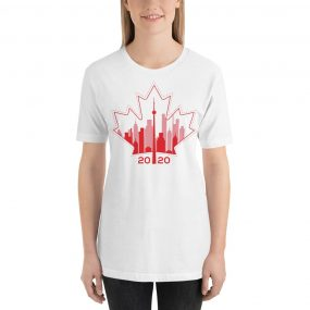 happy Canada day toronto skyline white t-shirt