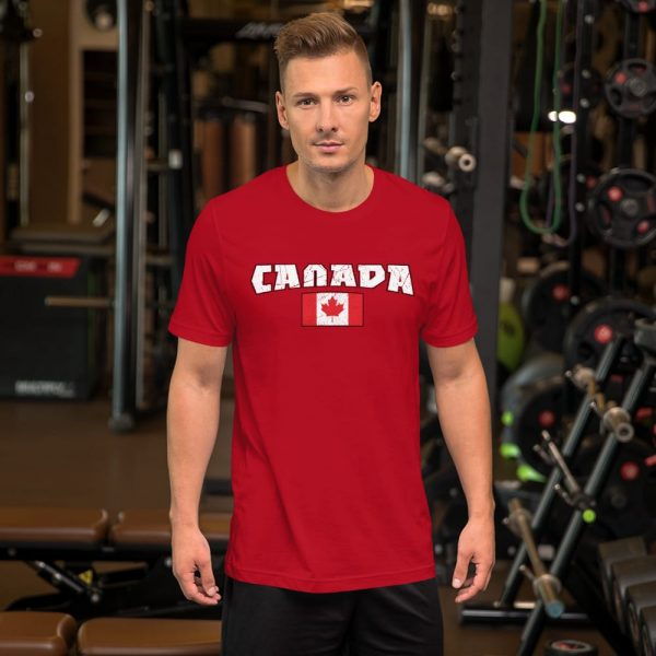 canada with flag red tshirt