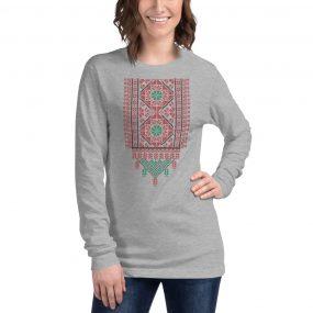 tatreez design pattern 2 embroidery grey t-shirt