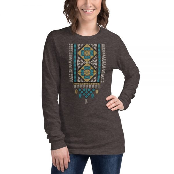 tatreez design pattern 2 embroidery heather grey t-shirt