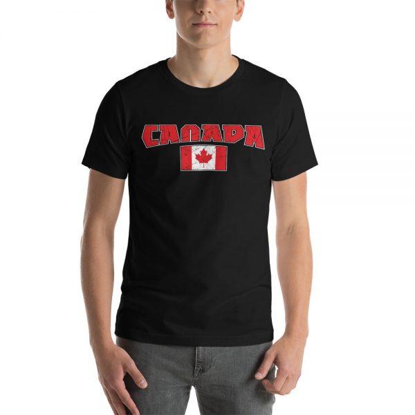 canada with flag black tshirt