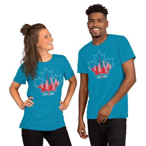 happy Canada day toronto skyline blue t-shirt