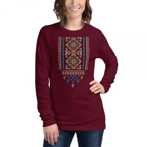 tatreez design pattern 2 embroidery maroon t-shirt