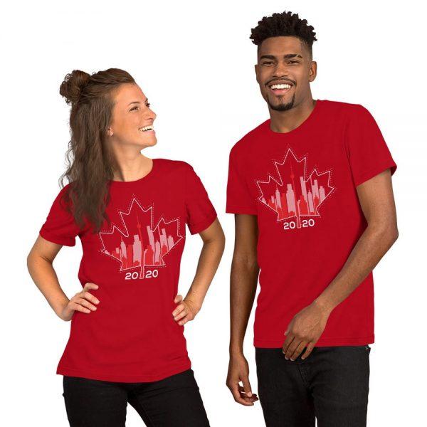 happy Canada day toronto skyline red t-shirt
