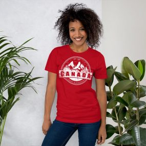 canada mountains yours to discover red personalized t-shirt