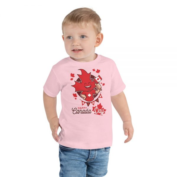 happy canada day kids children t-shrits customized pink