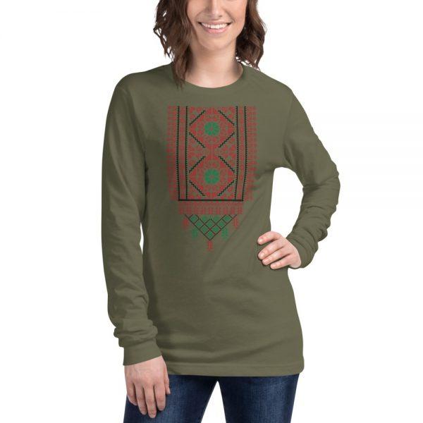 tatreez design pattern 2 embroidery olive green t-shirt