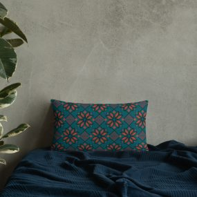 palestinian embroidery custom pillow blue
