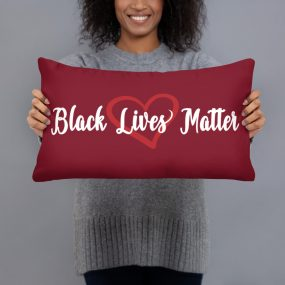 black lives matter with love heart accent pillow