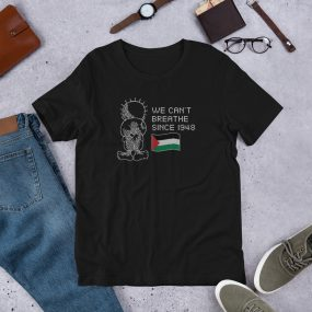 palestine handhala with palestinian flag we can't breath t-shirt