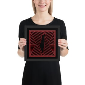 palestine map in pattern design custom framed poster