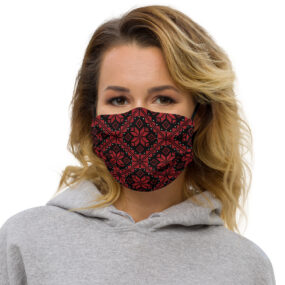palestinian embroidery tatreez face mask red