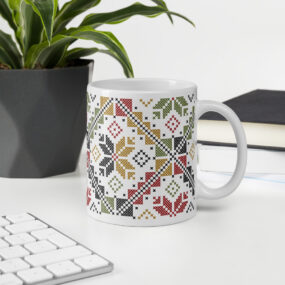 palestinian colorful tatreez mug