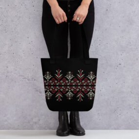palestinian tatreez embroidery hand tote bag
