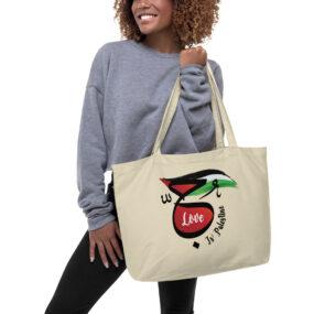 love is palestine large organic tote bag