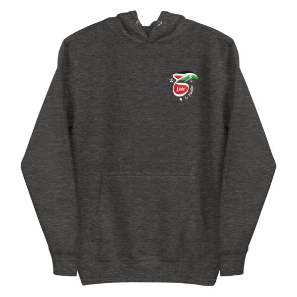 Love is Palestine dark heather custom hoodie