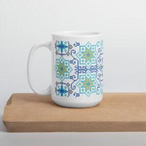 palestinian tatreez embroidery design mug