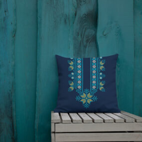 palestinian blue tatreez decorative pillow 18x18