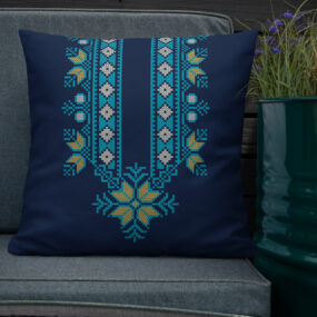 palestinian blue tatreez decorative pillow 22x22