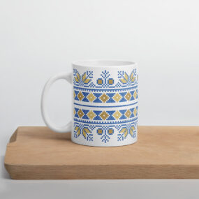blue tatreez embroidery coffee mug