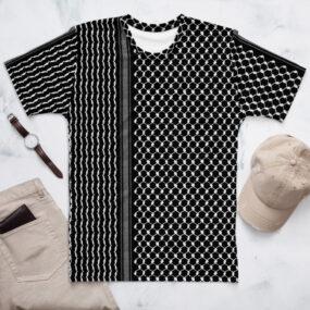 Palestine Kufiya pattern customized men's black t-shirt