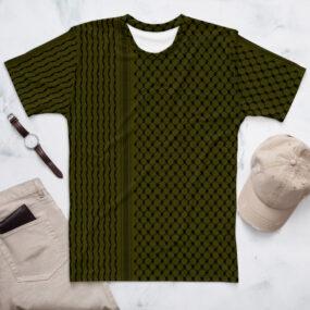 Palestine Kufiya pattern customized men's olive green t-shirt