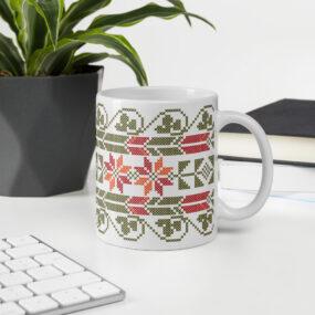 palestinian tatreez embroidery customized coffee mug