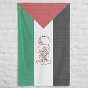 Palestinian flag customized with tatreez art